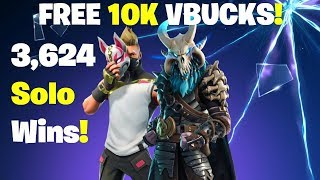 10K Vbucks Giveaway - 3624 Solo Wins! FORTNITE LIVE STREAM