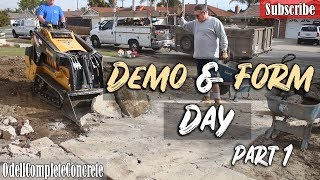 How to Pour a Concrete Driveway, Patio,and Side Yard Demo Day Part 1