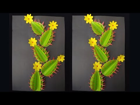 DIY:Wall Decor/Paper Cactus !!! How To Make A Paper Cactus For Wall Decoration !!!