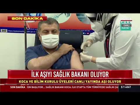 İlk aşıyı canlı yayında Sağlık Bakanı Fahrettin Koca oldu