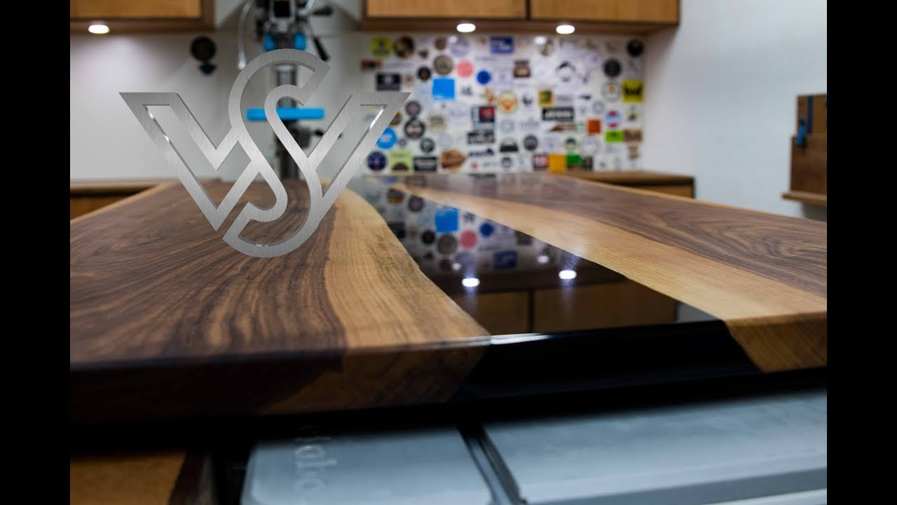 How To Build Walnut Wood And Black Epoxy Resin River Table Youtube