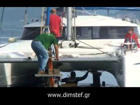 Hauling out Catamaran