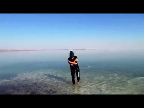 American Girl swims in Iran-- Urmia Lake-Saltiest lake in the world- June 2014