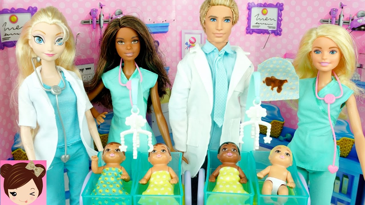 5dfc11b24d7e New Barbie Baby Doctor - Dr. Elsa   Anna Take Care of Babies at ...