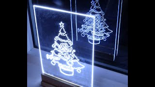 How to make acrylic led Christmas tree edge light sign / decoration
