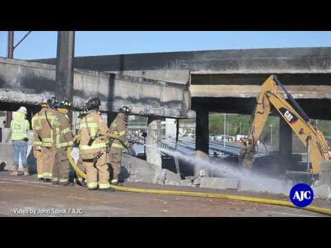 Exclusive footage of hot zone of I 85 bridge collapse