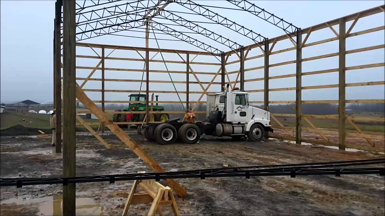How to build a big pole barn youtube for How to build a metal pole barn