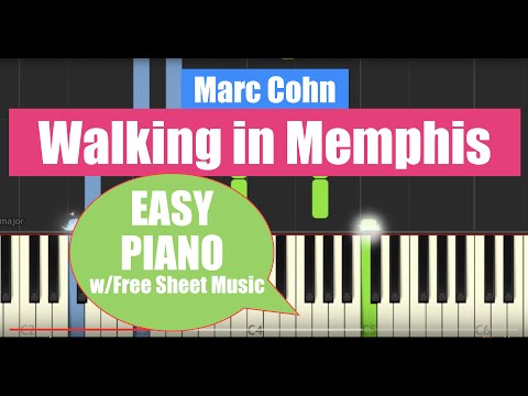 Walking in Memphis - Easy Piano Solo Arrangement/Tutorial with Free Sheet Music [Synthesia]