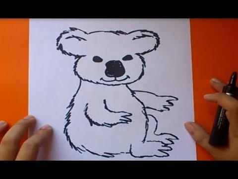 Como dibujar un koala paso a paso  How to draw a koala  YouTube