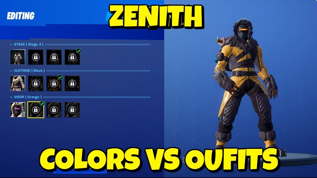 New Zenith Skin Colors On Different Outfits In Fortnite Youtube