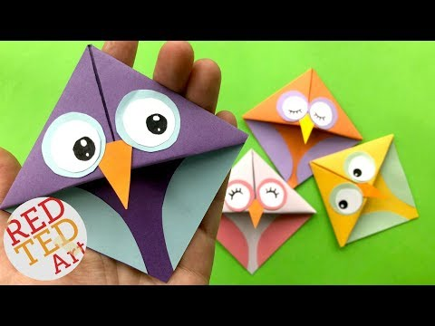 Easy Owl Origami Bookmark -  DIY Corner Bookmarks Owls