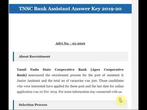 TNSC Bank Assistant Answer Key 2019-20 Download Answer Sheet