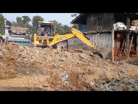 JCB Digger Collecting Stones and Mud - JCB Cleaning Field For Home Construction - JCB VIDEO 3