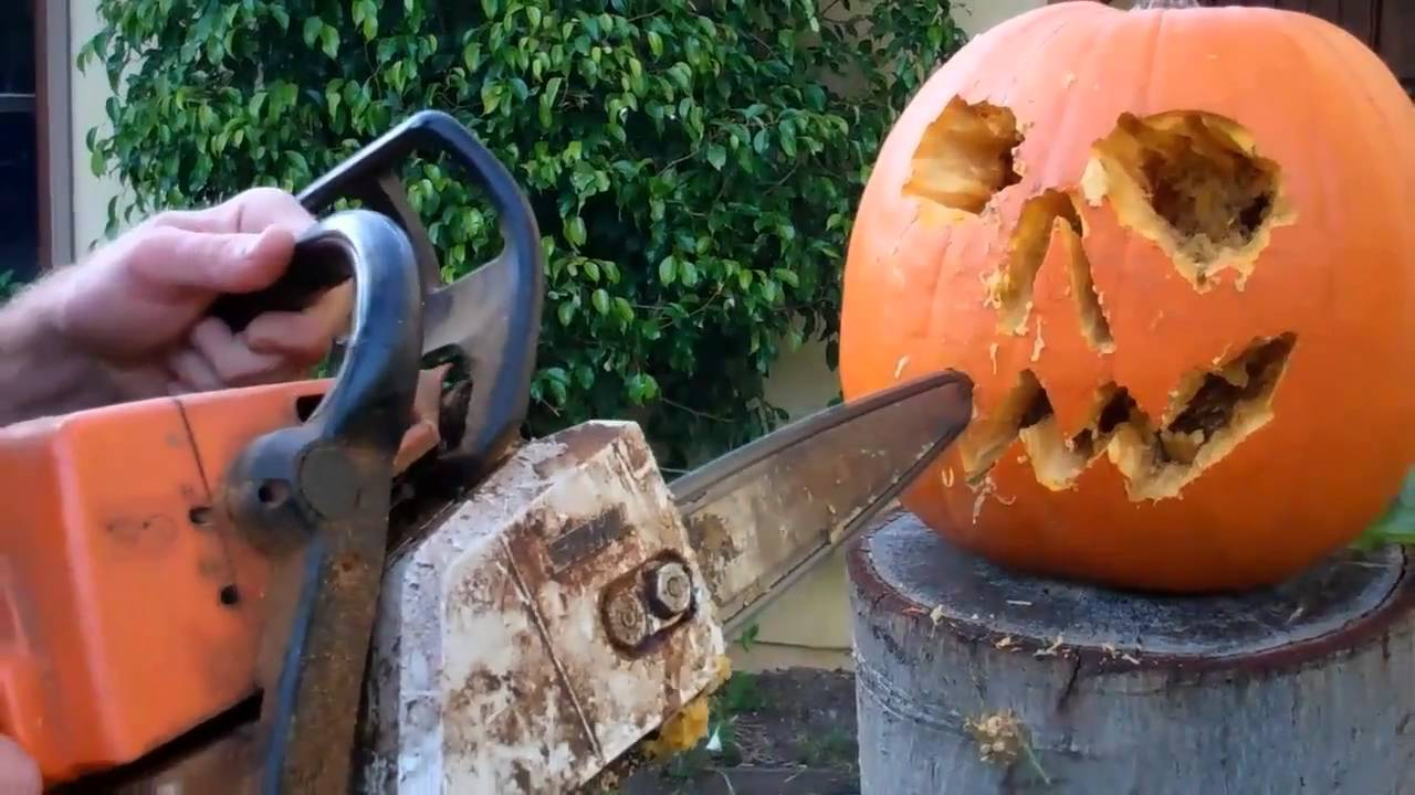 Pumpkin chainsaw carver youtube