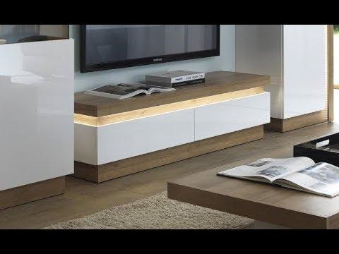 Lyon Modern 2 Drawer TV Cabinet Unit In Riviera Oak & White Gloss