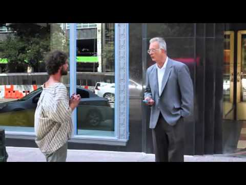 They Put A Homeless Man In A Suit And He Asks For Money On The Streets.