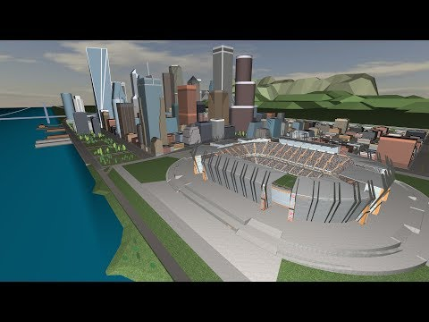 Stadium evacuation using Pathfinder