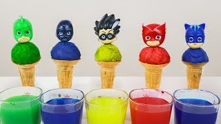 Pj Masks Ice Cream Learn Colors with Wrong Heads of Pj Mask - Learning Videos For Kids Toddlers