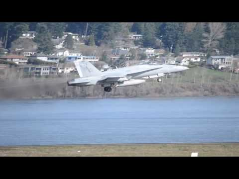 "3 USMC McDonnell Douglas F/A-18C Hornets VMFA-323 ""Death Rattlers"" Takeoff From PDX"