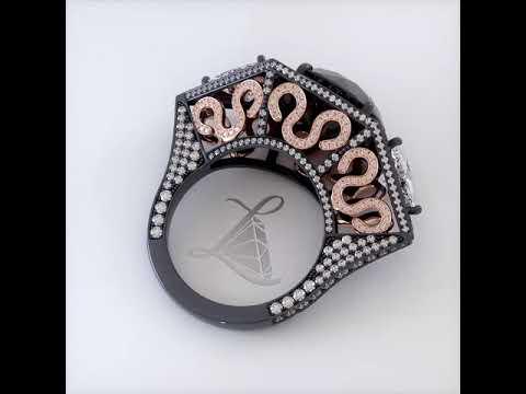 11.67 Carat Certified Fancy Black Diamond Engagement Ring 18k Black Gold