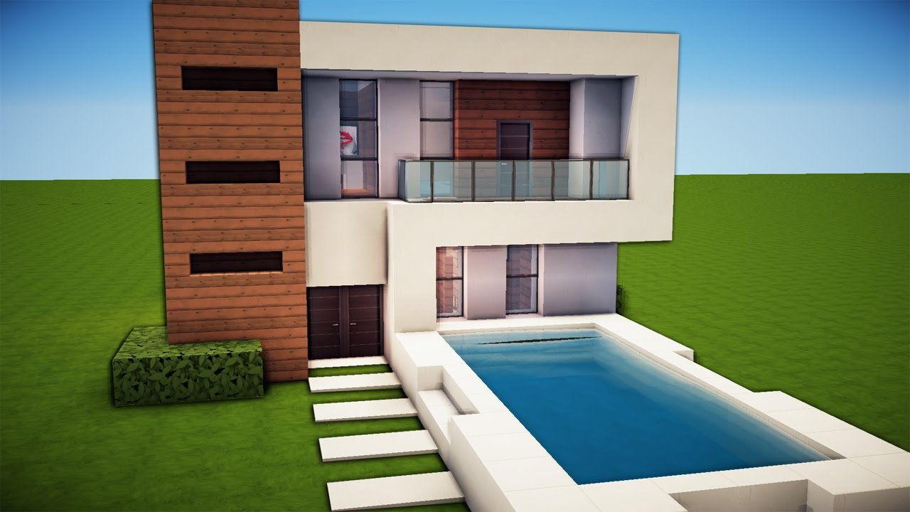Minecraft how to make a house with a pool for Simple and modern house