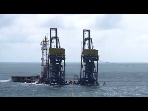 Wreck of POE GIANT 12 - A Singapore-registered barge ran aground at Pedra Branca