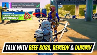 Talk with Beef Boss, Remedy and Dummy All Locations - How to unlock Predator Emoji in Fortnite