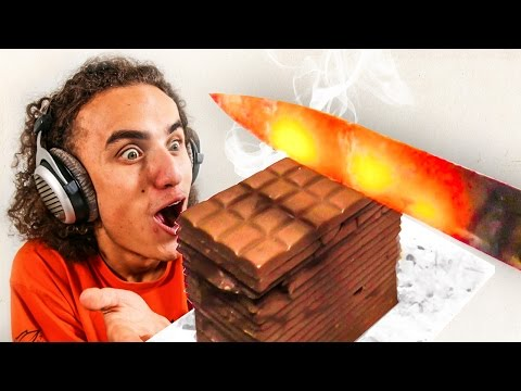 Thumbnail: EXPERIMENT! GLOWING 1000 DEGREES HOT KNIFE VS CHOCOLATE! (Reacting To)