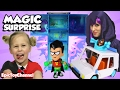 SURPRISE TOYS MAGIC New Teen Titans Go toys + Harley Quinn & Raven Cosplay with NEW T-Tower & T-Car