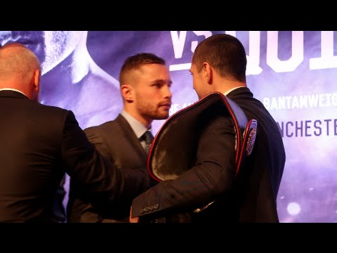 CARL FRAMPTON IS PULLED AWAY FROM SCOTT QUIGG AS HEAD TO HEAD GETS VERY HEATED IN BELFAST!
