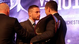 carl frampton is pulled away from scott quigg as head to head gets very heated in belfast