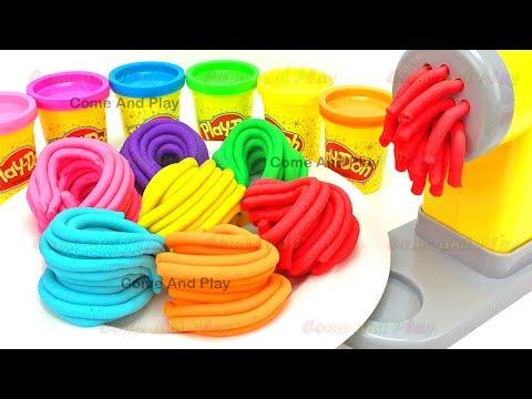 Learn Colors Play Doh Pasta Machine Making Spaghetti Surprise Toys Disney TMNT Minions Fun For Kids