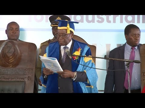 Zimbabwean President Robert Mugabe Appears at Graduation Ceremony after Military Takeover