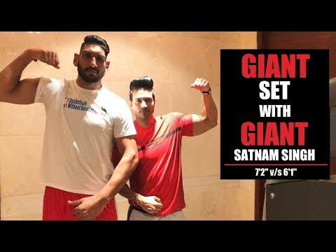 "GIANT set with GIANT Satnam Singh - 7'2"" v/s 6'1"""