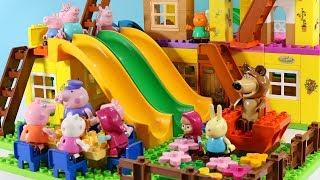Peppa Pig Blocks Mega House LEGO Creations Sets With Masha And The Bear Legos Toys For Kids #46