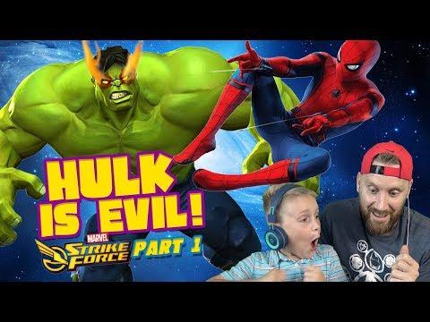 Team Spider-Man Vs Evil Hulk! Marvel Strike Force Game Pt. 1