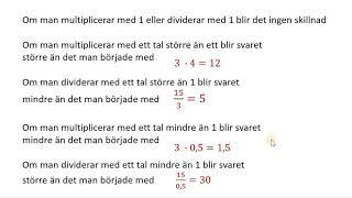 Multiplikation och division med tal som 10, 100, 0,1 0,01 osv