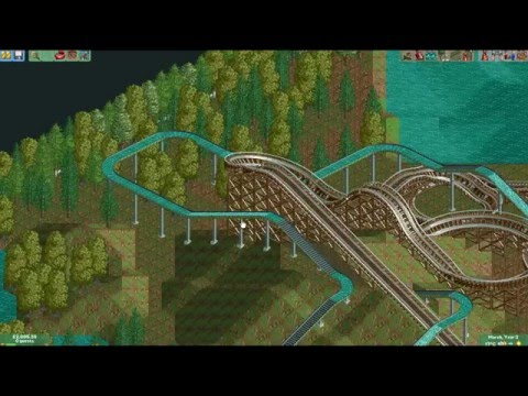 Let's Play Roller Coaster Tycoon 2 - Episode 2 Wooden Coaster & Log Flume