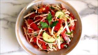 Овощной салат, салат для худеющих, РЕЦЕПТЫ, летний и осенний салатик, диетический салат