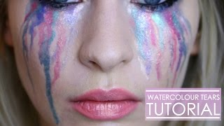 Watercolour Rainbow Tears Halloween Tutorial | Katie Snooks