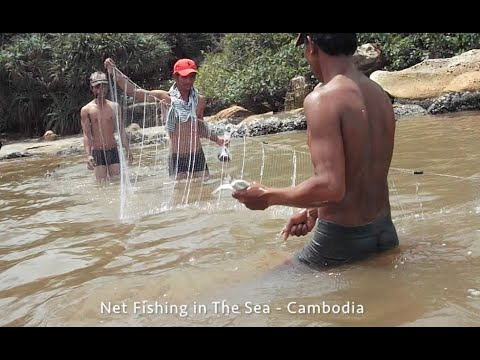 Net Fishing in the Sea near Otres Beach in Cambodia