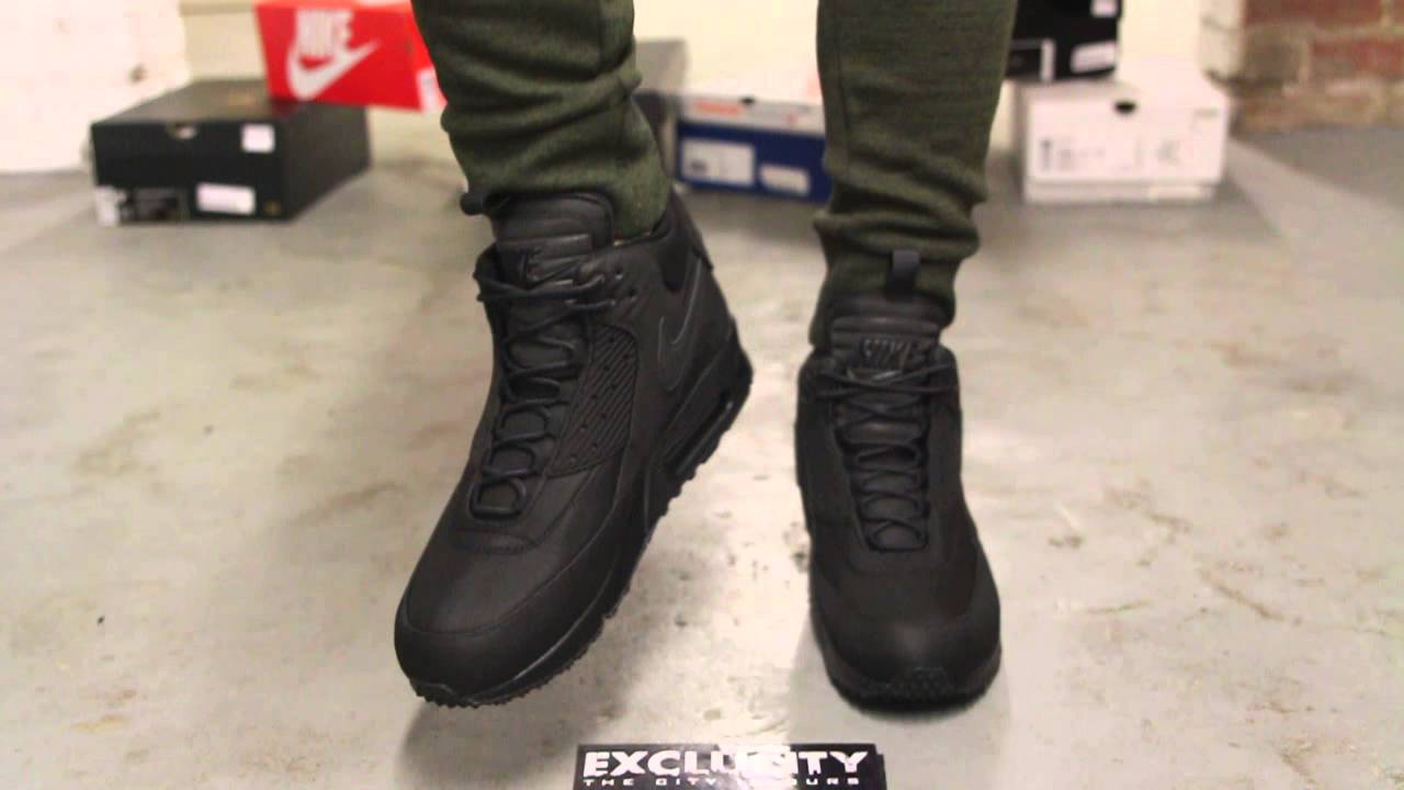 buy popular 8fb8d 65b64 Air Max 90 Sneakerboot Black - Black On-feet Video at Exclucity - YouTube