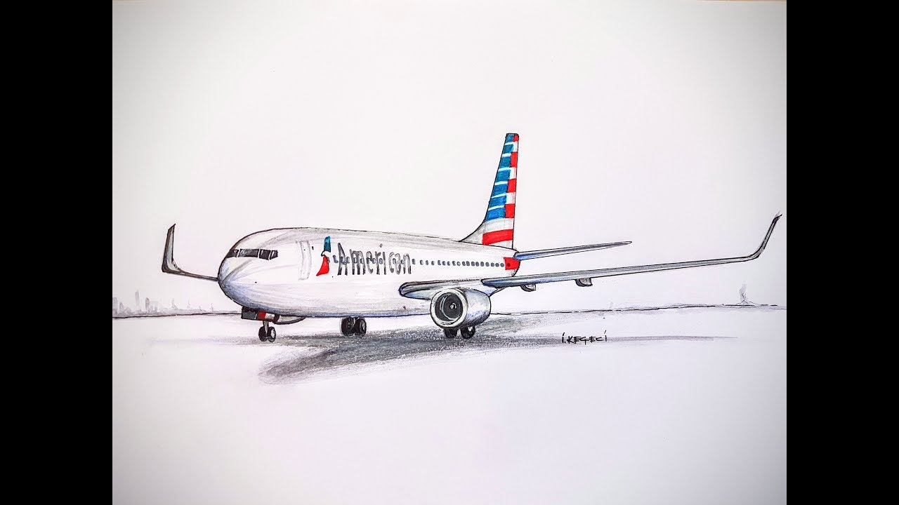3D SPEED DRAWING:BOEING 737,American Airlines
