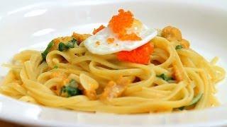 Pasta Recipe - Uni Linguine W/ Quail Eggs & Caviar