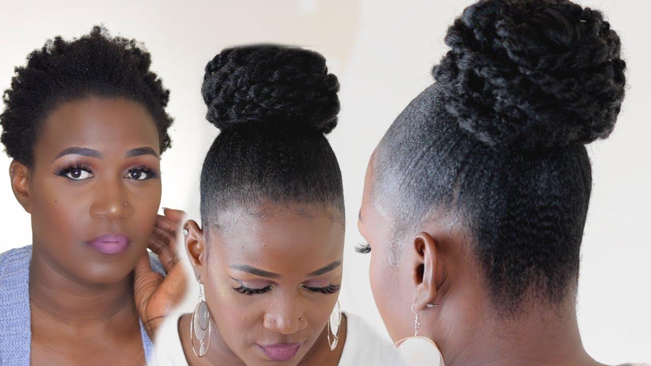 Slick 4c Natural Hair Messy Bun With Marley Hair Affordable