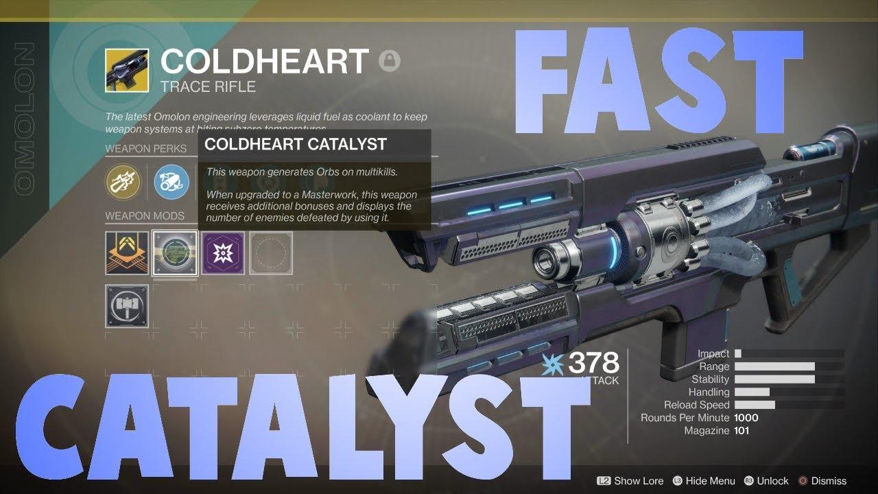 Destiny 2 Legend Of Acrius Catalyst Drop Rate Destiny 2 Coldheart Catalyst Best Place To Farm Kills For
