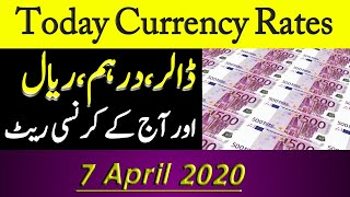 Today Open Market Currency Rates in Pakistan/PKR Exchange Rates/ 7 April 2020