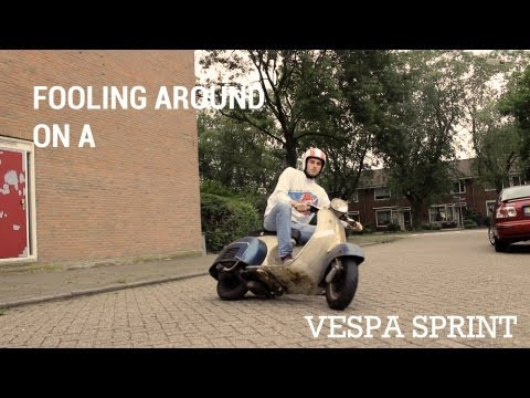 Fooling around on a Vespa 150 Sprint