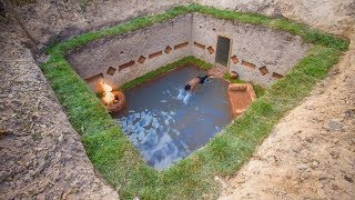 Unbelievable! Build Secret Underground Residence and heating swimming pool by Ancient Skill