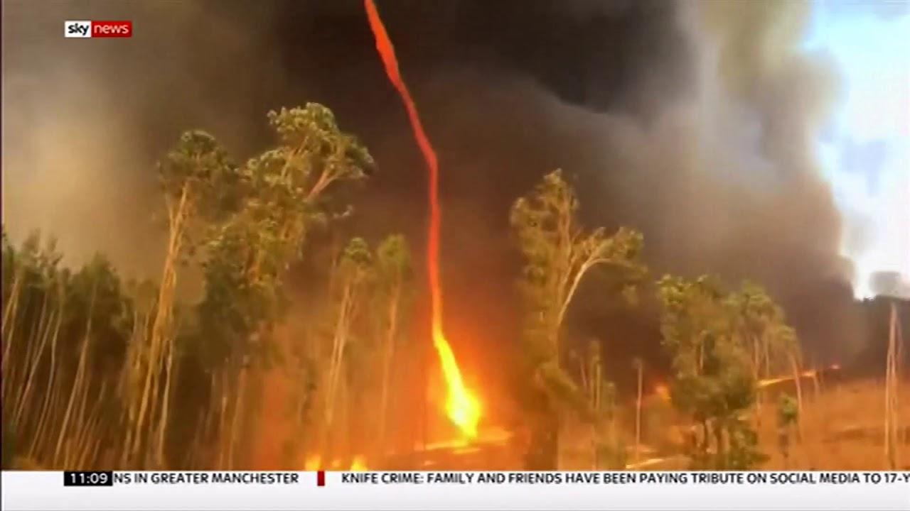 firenado in a bush fire  australia  - bbc news - 3rd march 2019